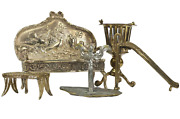 Sterling Silver And Other Metals Set Of Five Miniature Furniture Amazing