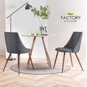 Set Of 2 Dining Chairs Velvet Kitchen Table Side Seat Wooden Home Room Furniture