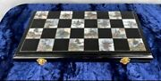 Old Chinese Vintage Set Chess Checkers Ebony Wooden Mother Of Pearl Board Game