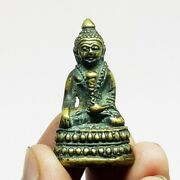 Phra Kring Buddha Brass Protect Collectible Power Holy Lucky Thai Amulet Rare