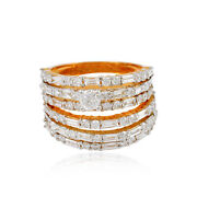 Certified Real 2.7 Ct. Diamond Multi Layer Band Ring 18k Rose Gold Fine Jewelry
