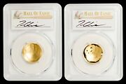 2-coin Set 2014-w 5 Gold Baseball Pcgs-70 - Tom Glavine - 300 Win Club -1 Of 2
