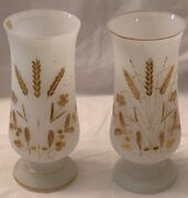 Beautiful Antique Pair Of Milk Glass Vases With Gilt Edge Rim And Gold Floral Pa
