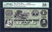 Ny 1859 1 Proof ♚♚the Central Bank Of Troy,new York♚♚ Pmg Ch About Unc 58 Epq