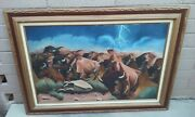 J.b. Todd Signed Oil Painting On Canvas Nude Buffalo Bison Stampede Mcm Western