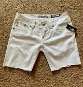 Nwt Miss Me White Jeans Cutoff Into Shorts Tag Size 27