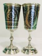 Kubachi Two Vintage Ussr Niello Gilt Sterling Silver 875 Wine Goblet Cups 100gr