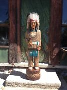 John Gallagher Carved Wooden Cigar Store Indian 4 Ft.tall Statue White Buffalo