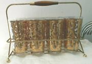 Mid Century Modern George Briard Spanish Gold High Ball Glasses W/ Carrier