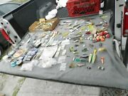 Vintage Fishing Lures Lot Of 215 Plus Line Hooks Wood Bobbers And More Estate Find