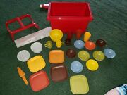 Lot 28 Vintage Child Play Tupperware Mini Harvest Toy Dishes Mugs Bowls In Box