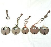 5 Pcs Lot Vintage Old Antique Iron Handcrafted Unique Round Shape Lock And Key