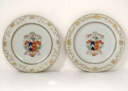Pair Dishes Porcelain Company Indies Crested Shield Knight 18andegrave