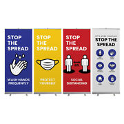 Social Distancing Stop The Spread Retractable Roll Up Banner Stand Wall Set