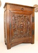 Antique 1800and039s Hand Carved Wood Iron Jacobean Figural Floor Cabinet Folk Art