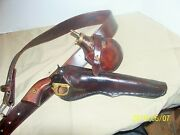 Black Powder Holster Right Cross Draw 9 Inch Barrel. With Belt Flask Pouch