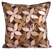 Brown Designer 24x24 Inch Pillow Faux Leather Floral Metallic - Cake And Pie