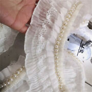 50cm Pleated White Lace Trim Beaded Pearl Braid Edge Ribbon Sewing Craft Fabric