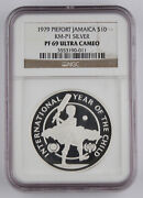 Jamaica 1979 Piefort Year Of Child 10 Silver Proof Coin Pf69 Ngc Km-p1 Rare