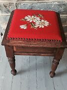 Antique Foot Stool Sewing Box Wood And Needlepoint 16 Tall Daisies On Orange