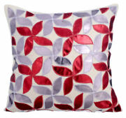 Throw Pillow Designer Red 22x22 Faux Leather - Red And Silver Metallic Swirls