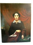 Antique English Portrait Of Lady Oil Painting On Canvas C.1860