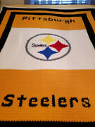Nfl Pittsburgh Steelers Blanket, Throw, Afghan, Hand Made, Crocheted, Queen Size