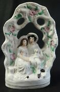 Antique Staffordshire Figural Garniture Lady And Gent Holding A Dog
