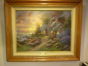 Reduced, Thomas Kinkade Painting, Seaside Hideaway S/n Le Canvas, With Coa