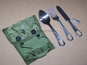 5 Piece Set Spoon Fork Knife Mess Utensil Usa Military Usmc + Medic Pouch And P38
