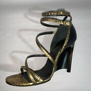 Pre-loved Authentic Lanvin Size 38.5 Strappy Metallic Snakeskin Leather Wedges