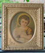 Antique Large Wood Gesso Victorian Oval Center Picture Frame 29.75 X 25.75