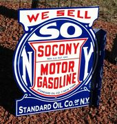 Old Style Large 2ft Socony Motor Oil And Gas Standard Flange Dicut Sign Usa Made
