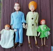 Marx Twistoys Dollhouse Doll Family Four Dolls 1970s Rare And Hard To Find