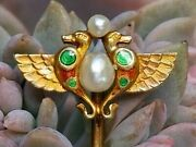 Antique Victorian Egyptian Revival Pearl Enamel 14k Gold Serpent Stick Pin Boxed