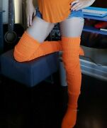 Long Thigh High Over The Knee Slouch Socks Loose Otk Japanese Baggy Cable Knit