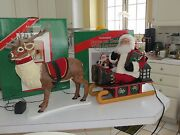 Reindeer And Santa In Sleigh Animated Musical Illuminated Holiday Creations 1994