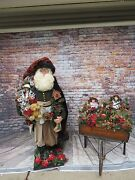Stunning Life Size 5and039ft Lyn Summers Old World Santa Claus With Toy Cart Ooak
