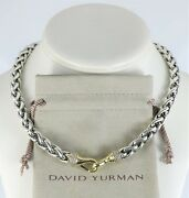 David Yurman 18k Yellow Gold Silver Pave Diamond 16and039and039 Wheat Chain Large Necklace