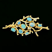 Vintage Large Textured 14k Gold Fine Opal And Diamond Free Form Tree Branch Brooch
