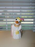 Vintage 1950and039s Whimsical Mother Goose Figure W/ Planter Pastels Japan Vgc