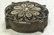 Antique Russian Imperial Filigree Sterling Silver 84 Jewelry Trinket Pill Box