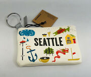 Starbucks Coffee Seattle 2019 Card Pouch Keychain Coin Purse White New With Tags