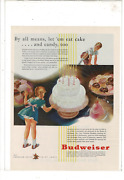 1937 Budweiser Beer Cake Candy Corn Syrup Production Army Homes Ad Print K199
