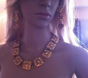 Collectors Signed 2cc3 Gold Plated Necklace Set Dangling Earrings Clip On
