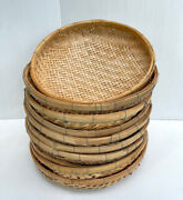 Vintage Thai Handicraft Wicker Round Shape Bamboo Tray Sieve For Drying Food 12