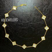 10 Motif White Mother Of Pearl 18k Gold Four Leaf Clover Flower Style Necklace