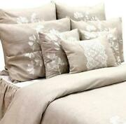 King Queen And Twin Beige Linen Duvet Cover Lace Embroidery - Linen Blooms