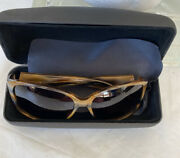 Theory Womenandrsquos Marble Brown Sunglasses Metal Accent On Temple Th2139 Never Worn