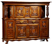 Antique Sideboard Breton French Provincial Carved Oak Sideboard 20th Century
